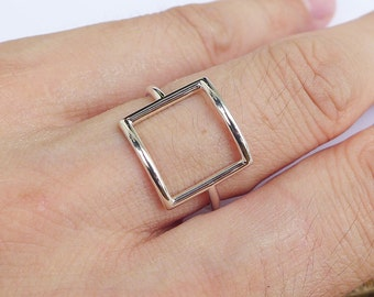 Solid Sterling Silver Square Ring