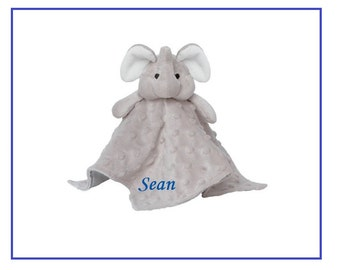 Personalized Elephant Blankie / Lovie / Security Blanket. Embroidered with name or monogram. This will be an instant favorite.