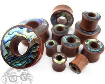 "Saba Wood Tunnel Plugs With Abalone Shell Inlay (00G - 1 & 1/4"" Inch) - Sold in Pairs - New!"