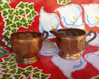 Vintage copper cream and sugar set