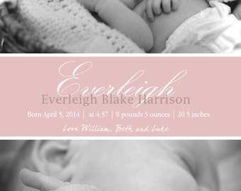 Baby Birth Announcement, Girl, Boy, Pink, Blue, Multi Photo, Custom Printable Design