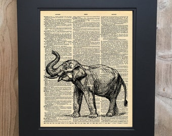 Cool Elephant art print on Upcycled vintage Dictionary page #0064