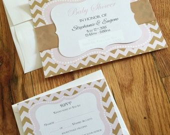 Gold and Pink Baby Shower Invitation - Handmade - With RSVP Card