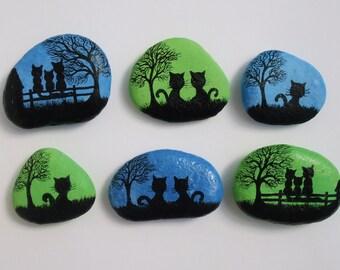Painted Stone, Cat Magnet, Rock Painting, Cat Art, Hand Painted Pebble, Kitty Magnet, Miniature Art, Black Cat Painting, Rock Art Silhouette