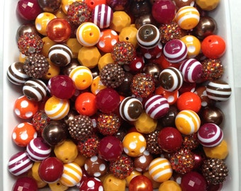 Fall Leaves Sparkly Autumn Fall Mix Deep Crimson Red, Orange, Golden Yellow & Brown Bulk Wholesale Lot 20mm
