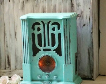 Teal Vintage Style Thomas Radio, Aqua Mint Stereo and Cassette Player, Thomas Museum Series, Wooden Stereo Box,  Gift Ideas