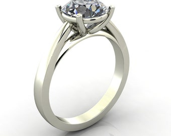 Juliette Forever Brilliant or Forever One Moissanite Classic 4 Prongs Cathedral Under Bezel Solitaire Ring