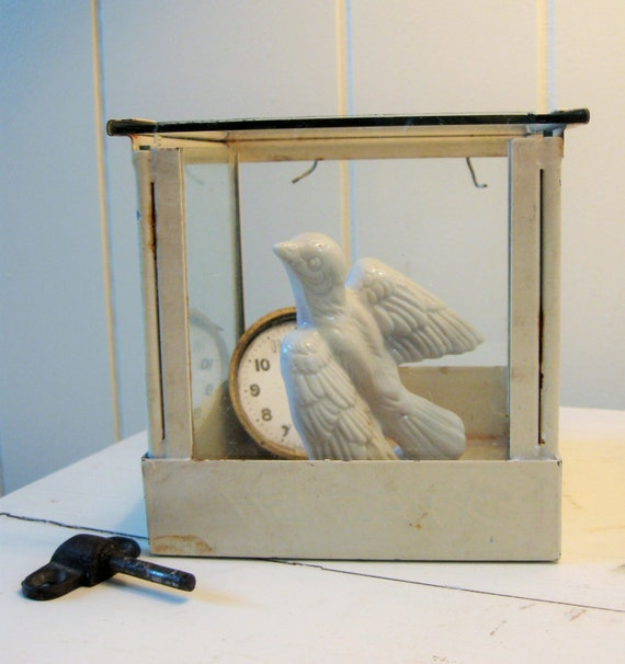 Glass Nesting Boxes : Vintage bird cage nesting box antique display case by