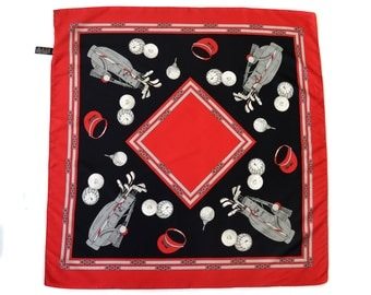 Vintage Jago scarf golf red black made in Italy