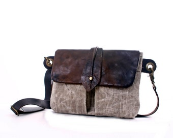 Big Leather and Canvas Hip Bag - Fanny Pack - Traveler Bag - Utility Hip Belt - Hip Pouch Wax Canvas