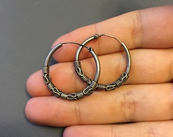 Vintage sterling silver handmade hoops earrings, Mexico 925 silver earrings