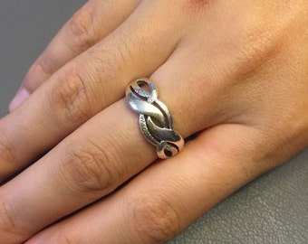 Vintage sterling silver handmade woven ring, 925 silver ring, size 8