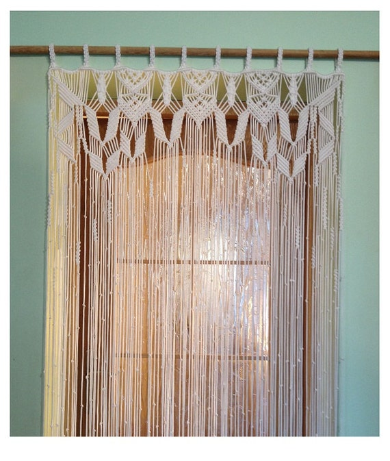 macrame curtain handmade macrame wall hanging white. Black Bedroom Furniture Sets. Home Design Ideas