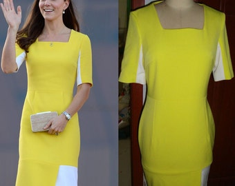 Kate Middleton/ Dress/ Yellow/Roksanda Inspired/Yellow/ shiftdress