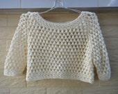 Crochet Crop Top Women Short Sleeve Sweater Boho Clothing