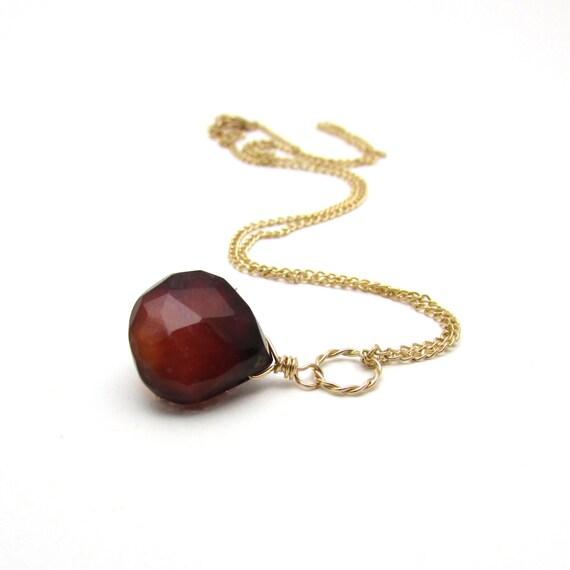 hessonite garnet pendant necklace gold garnet jewelry