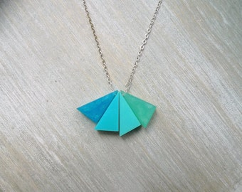 Simple geometric necklace, Ombre teal necklace,