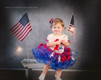 First Independence Day Patriotic Theme Birthday Shirt Tutu Set Little Miss 4th of July