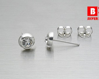 925 Sterling Silver Earrings, Round Earrings, White Crystal Earrings, Stud Earrings (Code : E15A)