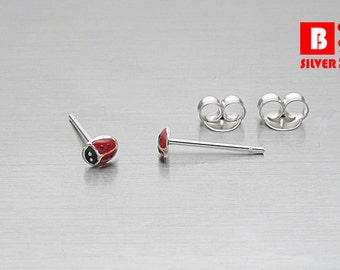925 Sterling Silver Earrings, Tiny Red Ladybug Earrings, Bug Earrings, Stud Earrings (Code : ED05A)