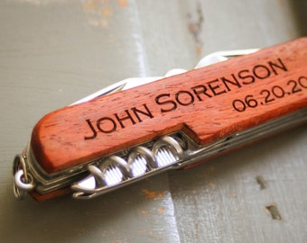 Custom Knife, Personalized Knife, Engraved Knife: Groom's Gift for Him, Anniversary Gift, Father's Day, Groomsmen, Wedding Favor - GFT1