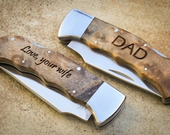 Custom Engraved Knife, Personalized Folding Knife, Personalized Pocket Knife: Father's Day, Gift for Him, Groomsmen, Stocking Stuffer - R138