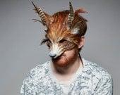 La main renard roux masque, masque de bois Fox, Fox Festival coiffe, masque de carnaval, Fantastic Mr Fox masque