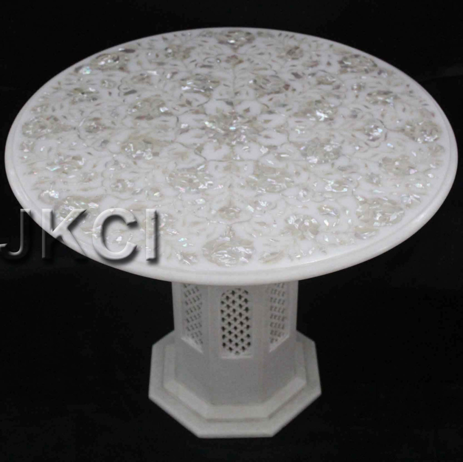 Coffee Table Mother Of Pearl White Marble With Pedestal Pietra