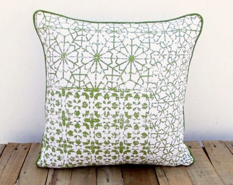Green throw pillow cover, geometrical print, patch print, cotton pillow, sizes available.