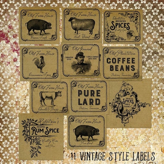 Vintage Style Labels | Digital Download | Jar Lables | Old Farm House | Primitive Country