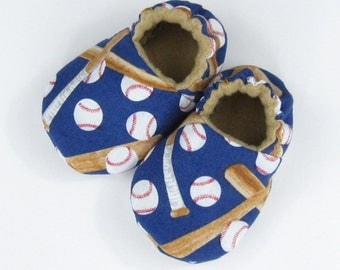 Newborn Baby Shoes- Size 1 baby boy shoes, new baby booties, infant baseball booties, baby slippers, crib shoes Ready to Ship, Baseball