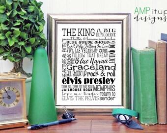Elvis Presley Subway Art - Elvis Presley Fan Art - Gift for Elvis Lover - Elvis Fan Gift - Elvis Decor- Elvis Presley Printable - Printable