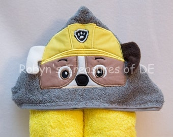 Rubble...Paw Patrol Inspired Hooded Towels