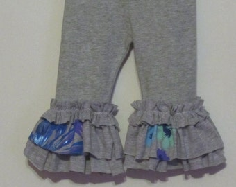 BLOW OUT SALE 50% Off - Girls gray ruffle leggings - Super Cute and Comfy Fun girls leggings chose any color ruffle to match your outfit
