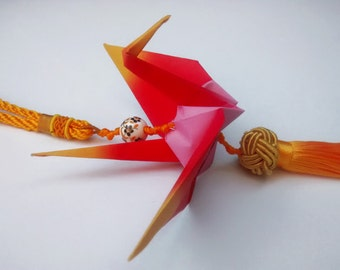 Origami Crane Ornament with chinese tassel