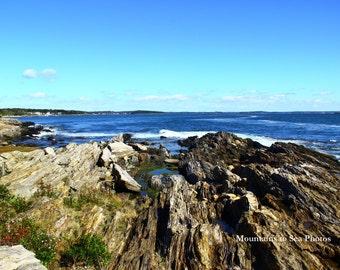 Maine photo, year round wall art, 5x7 landscape photo, Bailey Island, coastal decor, New England, blue sky and water, Atlantic Ocean waves