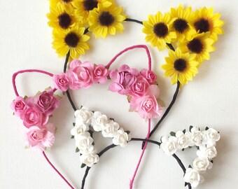 Flower Cat Ear Headband