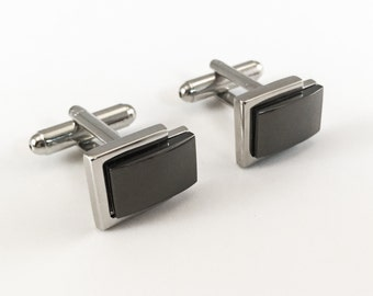 Personalized Cuff Links Engraved for Free, Gunmetal & Silver Cuff Links Customized, Ideal for: best Men, Groomsmen, Father's Day , etc