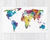 Colorful World Map Bath Mat -geometric map for a travel or map bathroom, ideas, redecorate, decor, shower