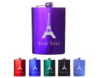 Personalized engraved Eiffel Tower 8 Oz Custom Stainless Steel Pocket Hip Flask