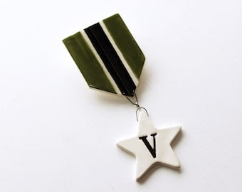 Vegan Medal. Hand Made, Fired Ceramic Pin. Go Varmy.