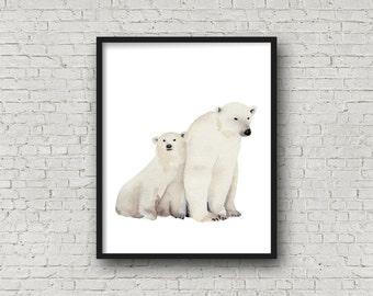 Watercolor Polar Bears