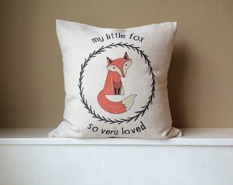My little fox so very loved - natural canvas - Envelope pillow