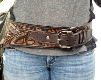 """Tooled Leather Holster, Belt & Buckle ,Brown, Waist 44"""" / holds 44/ 45, Free shipping in the US"""