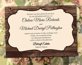 "Printable Wedding Invitation Template - ""Rustic Dreams"" Printable Invitation DIY Wedding Template - Printable Wedding Instant Download"