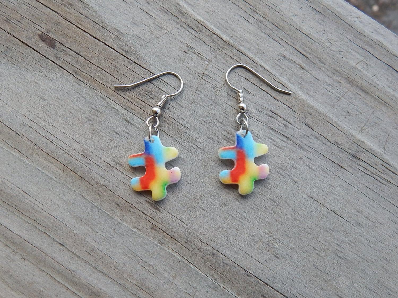 puzzle earrings autism awareness earrigs