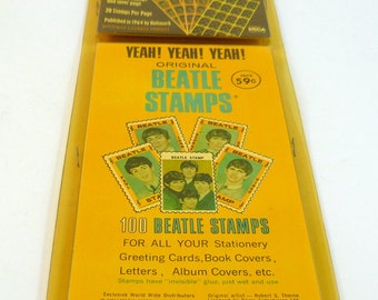 The Beatles 1964 Original HALLMARK BEATLES STAMP Set -100 Beatles Stamps from 1964 Sealed in Plastic Package with Neca Coa