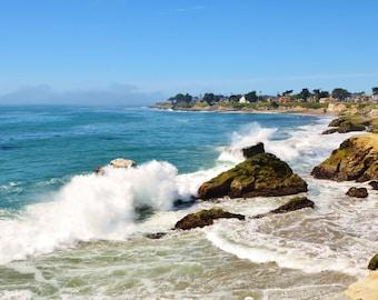 Pacific Ocean Waves Crashing on the Sandy Beach at Mitchell's Cove in Santa Cruz, CA, Nautical Art, Blue Sea, White Caps, 8 x 10 Print