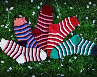 Cozy warm knit striped home and bed socks. Autumn Winter Spring fashion accessories. Perfect gift for her.