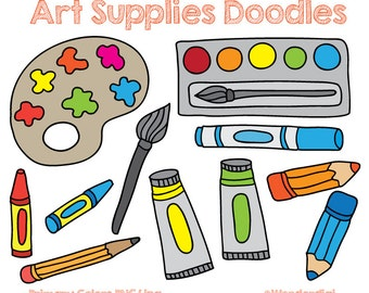 Art Supplies Clip art Doodles - Kids clipart - School Clipart - Teacher Clipart